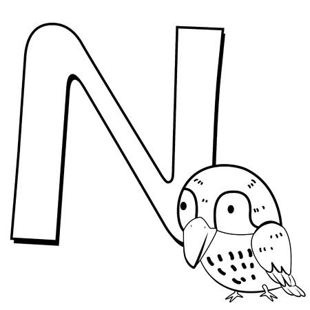 ruiseñor: Colorear Alfabeto para los niños, N con ruiseñor