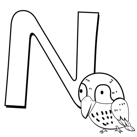 bird nightingale: Coloring Alphabet for Kids, N with nightingale