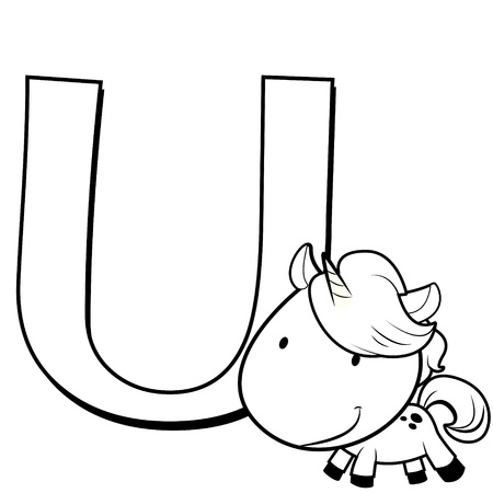 Coloring Alphabet for Kids, U with unicorn Vector