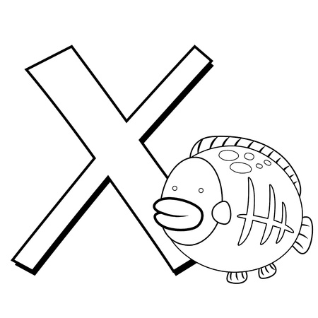 Coloring Alphabet for Kids, X with x-ray fish Vector