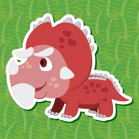 a cute dinosaur sticker with Pentaceratops Vector
