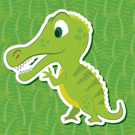 a cute dinosaur sticker with Suchomimus Vector