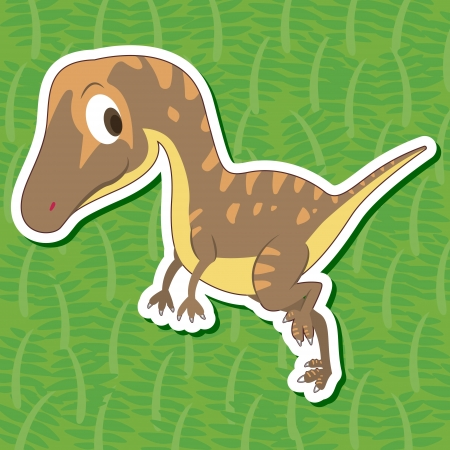 a cute dinosaur sticker with Troodon Vector