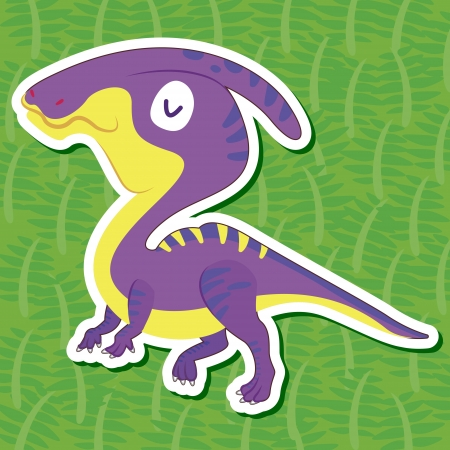 a cute dinosaur sticker with Hadrosaurus Vector