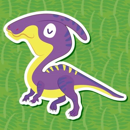 ascendant: a cute dinosaur sticker with Hadrosaurus Illustration