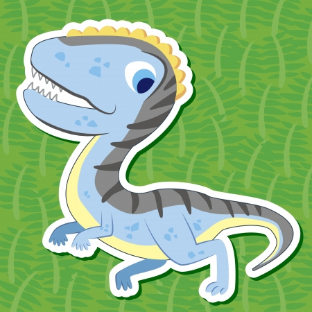 a cute dinosaur sticker with Herrerasaurus Vector
