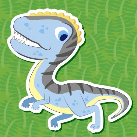 cute dinosaur: un adhesivo dinosaurio lindo con Herrerasaurus Vectores