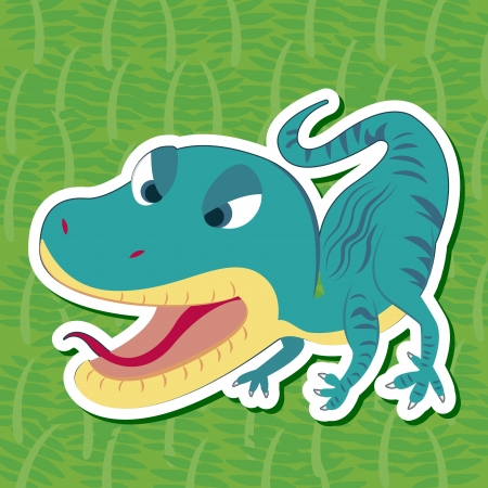a cute dinosaur sticker with Staurikosaurus Vector
