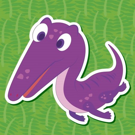 a cute dinosaur sticker with Nothosaurus Vector