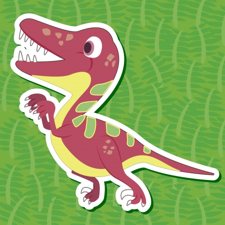 a cute dinosaur sticker with Deinonychus Vector