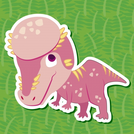 a cute dinosaur sticker with Pachycephalosaurus Vector