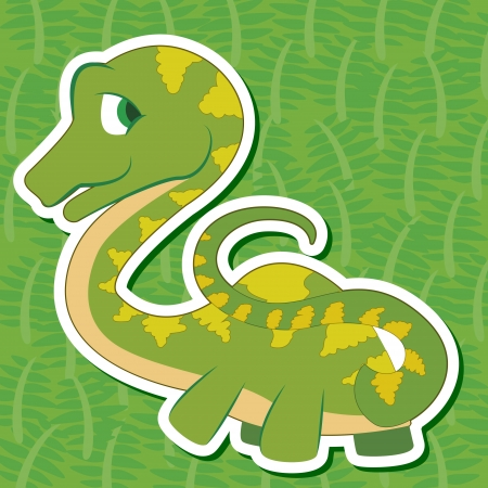 a cute dinosaur sticker with Seismosaurus Vector