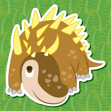 a cute dinosaur sticker with Polacanthus Vector
