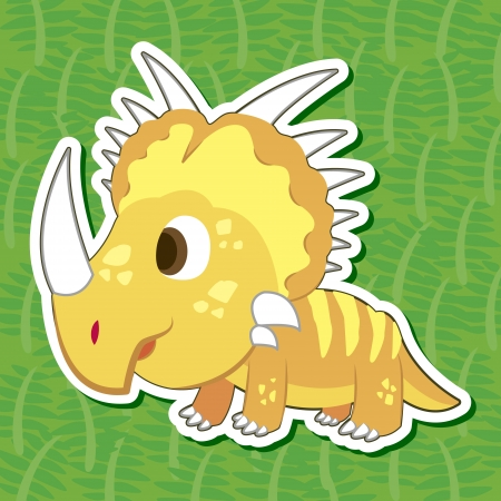 a cute dinosaur sticker with Styracosaurus Vector