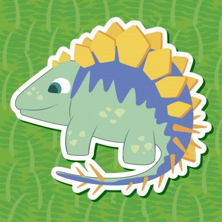 cute dinosaur: un adhesivo dinosaurio lindo con Tuojiangosaurus Vectores