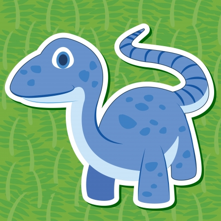 a cute dinosaur sticker with Telmatosaurus Vector