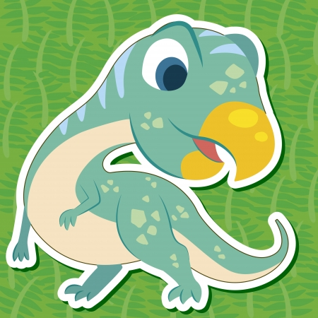 baby dragon: a cute dinosaur sticker with Psittacosaurus