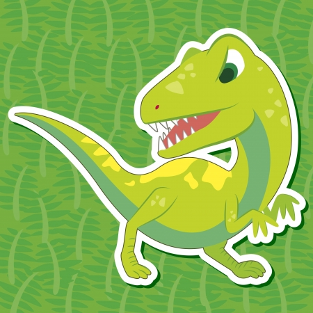 a cute dinosaur sticker with Allosaurus Vector
