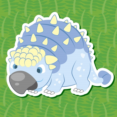 a cute dinosaur sticker with Scutosaurus Vector