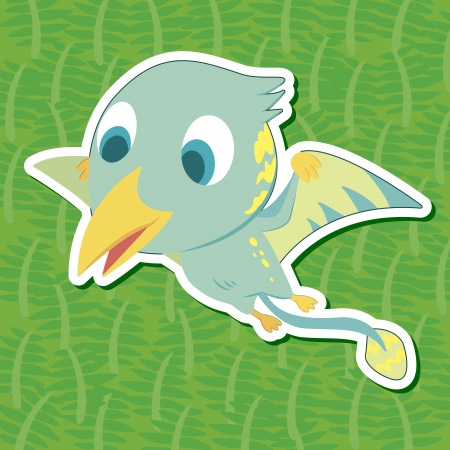 a cute dinosaur sticker with Eudimorphodon Vector