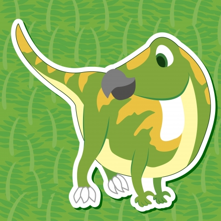 a cute dinosaur sticker with Iguanodon Vector