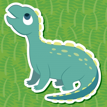 a cute dinosaur sticker with Scelidosaurus Vector