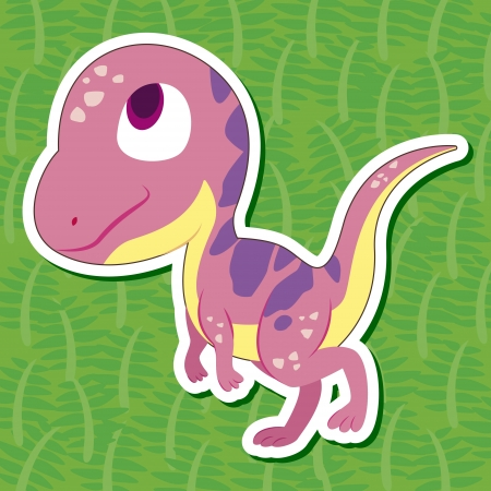 a cute dinosaur sticker with Hypsilophodon Vector