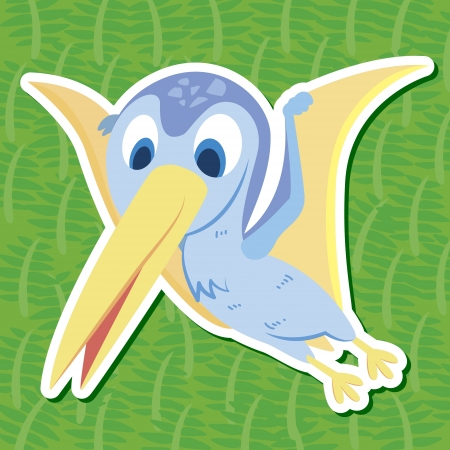 a cute dinosaur sticker with Pterodactyl  Vector
