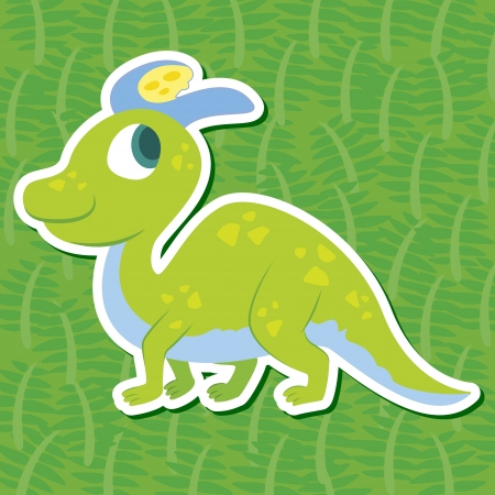 a cute dinosaur sticker with Lambeosaurus Vector