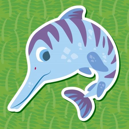 a cute dinosaur sticker with Ichthyosaurus Vector