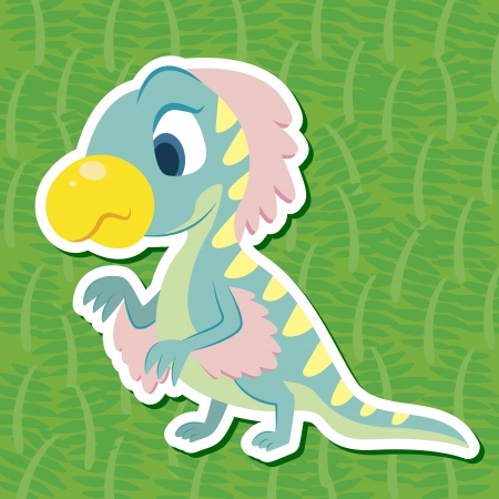 a cute dinosaur sticker with Therizinosaurus Vector