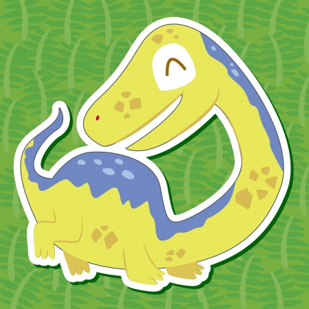 a cute dinosaur sticker with Tanystropheus Vector