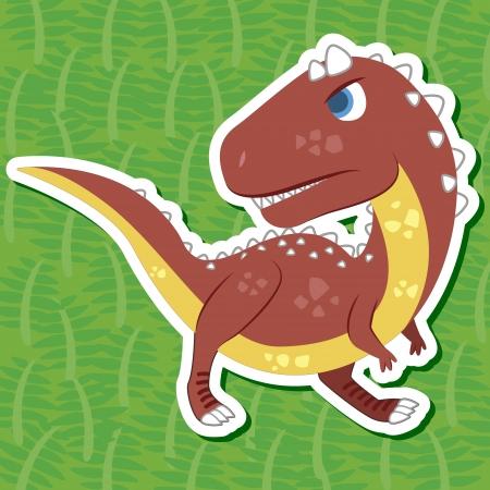 dinosaurio caricatura: un adhesivo dinosaurio lindo con Carnotaurus Vectores