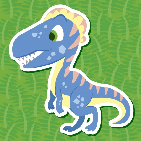 a cute dinosaur sticker with Dilophosauridae Vector