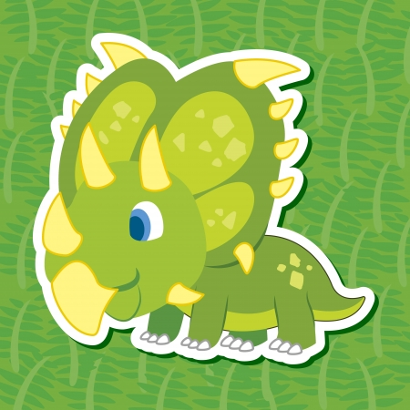 a cute dinosaur sticker with Chasmosaurus Vector