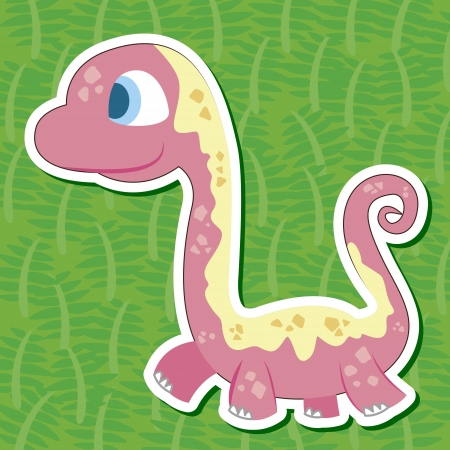 a cute dinosaur sticker with Argentinosaurus Vector