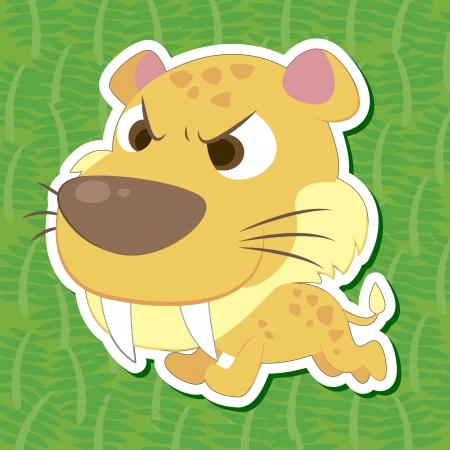 a cute prehistoric animal sticker with Saber-toothed tiger Vector