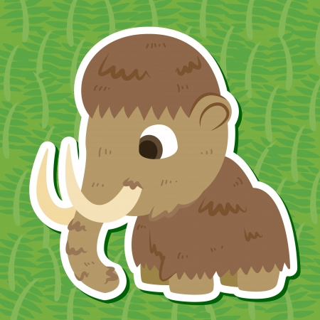 a cute prehistoric animal sticker with Mammoth Vector