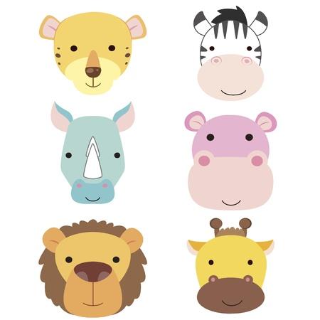 hippopotamus: seis iconos de animales lindos de la historieta de la cabeza Vectores