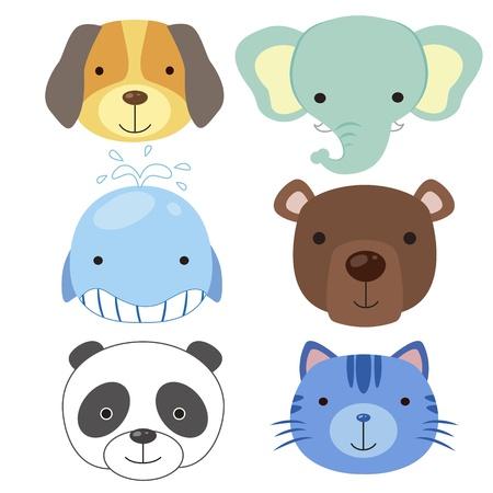 perro caricatura: seis iconos de animales lindos de la historieta de la cabeza Vectores