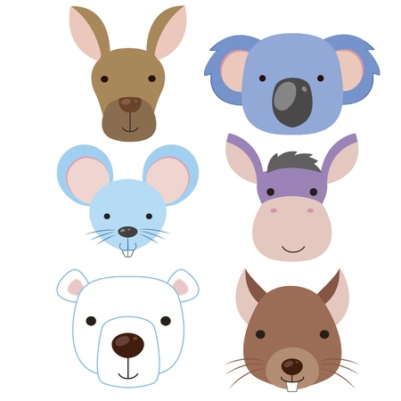 koala: seis iconos de animales lindos de la historieta de la cabeza Vectores