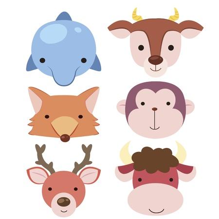 seis bonito dos desenhos animados cabeça ícones animais