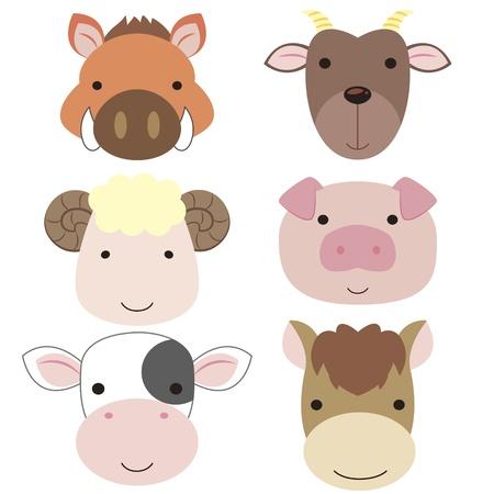 cabras: seis iconos de animales lindos de la historieta de la cabeza Vectores