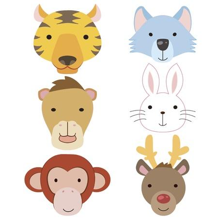 zebra heads: six cute cartoon animal head icons