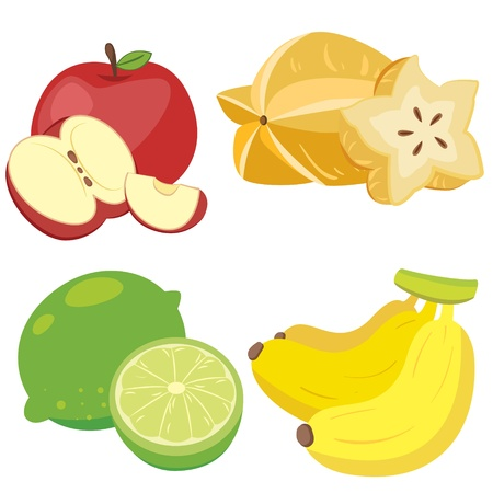guava fruit: four cute fruits with apple, carambola, lemon,and banana