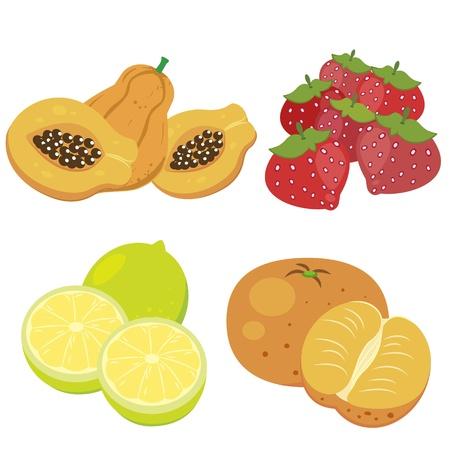 papaya: four cute fruits with papaya, mandarin orange, lemon,and strawberry