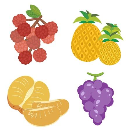 mandarin orange: four cute fruits with litchi, mandarin orange, pineapple,and grapes   Illustration