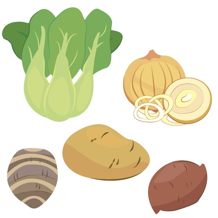 taro: five cute vegetables collection Illustration