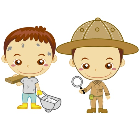 archaeologist: A archaeologist and a construction worker isolated on white background