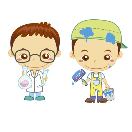 scientist man: A painter and a scientist isolated on white background  Illustration